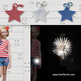 Star safety reflectors in red, white and blue to hang on clothes and bags for nighttime safety.