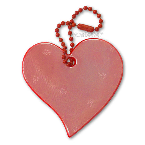 Red heart safety reflector for clothing, jackets and backpacks