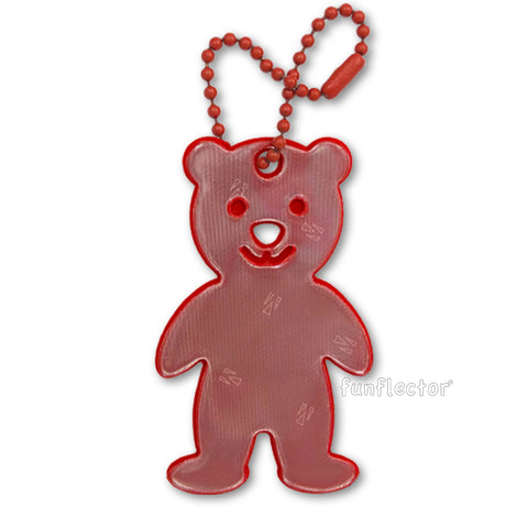 Red teddy bear safety reflectors for strollers, backpacks and jackets.