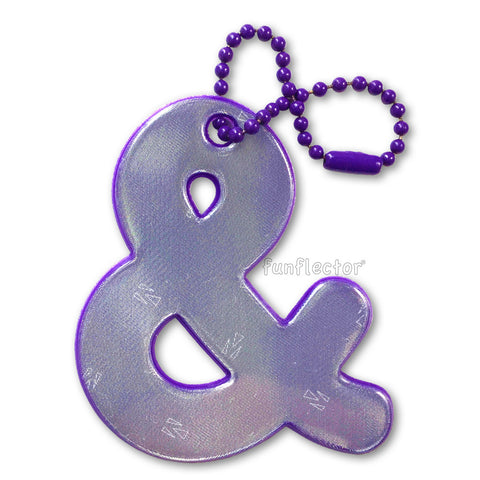 Purple ampersand (AND sign) safety reflector for purses, bags and backpacks.