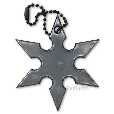 Black ninja star backpack safety reflector by funflector.