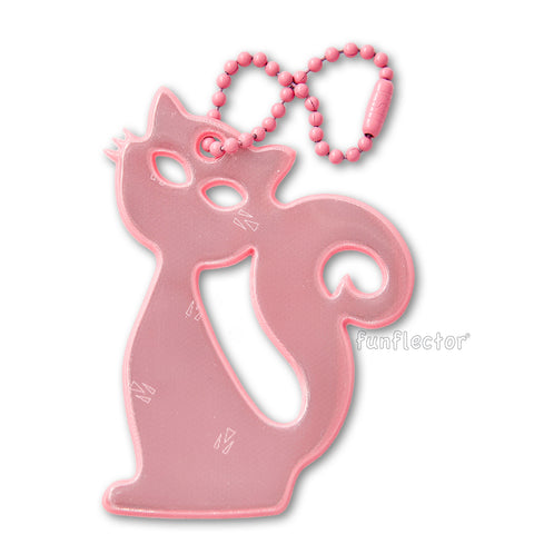 Pink cat safety reflector for clothing, backpacks and bags.