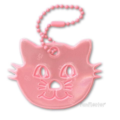 Pink kitten safety reflector for bags and backpacks