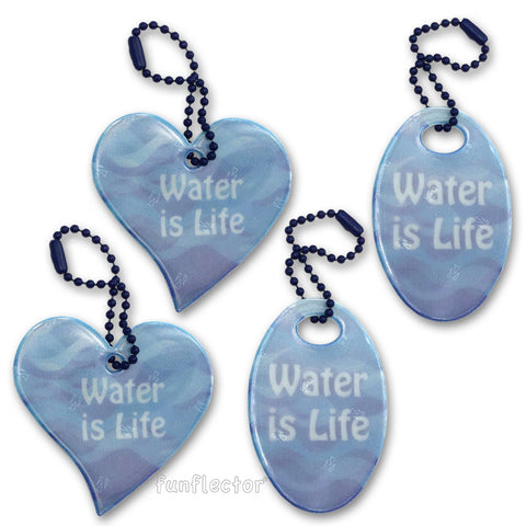 """Water is Life"" safety reflectors for walking and running that also supports the Great Lakes and Standing Rock"