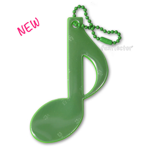 New green eighth note safety reflector by funflector