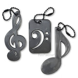 Treble clef, bass clef and eighth note safety reflector - black