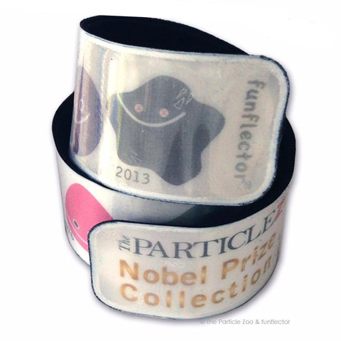 Reflective slap bracelet with particle zoo nobel prize collection