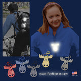 funflector moose safety reflectors in 5 colors.
