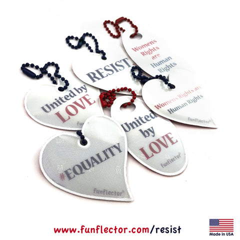 funflector safety reflectors supporting the ACLU, SIerra Club and Emily's list