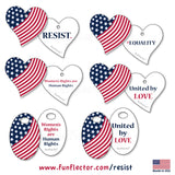 USA flag safety reflectors with inspirational messages about human and womens rights