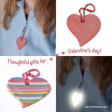 heart safety reflectors are thoughtful gifts for Valentine's Day and super easy to send with greeting cards