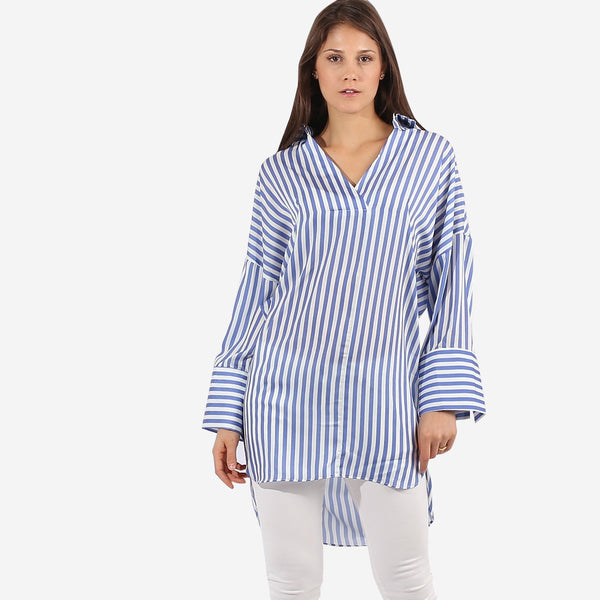 Blue Oversize Stripe Tunic