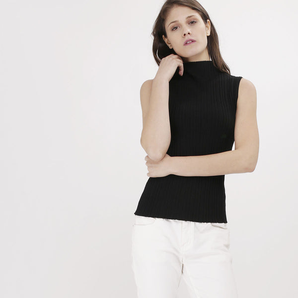 Black Knit Turtleneck Tank Top