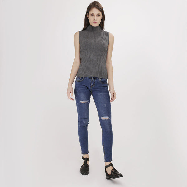 Grey Knit Turtleneck Tank Top