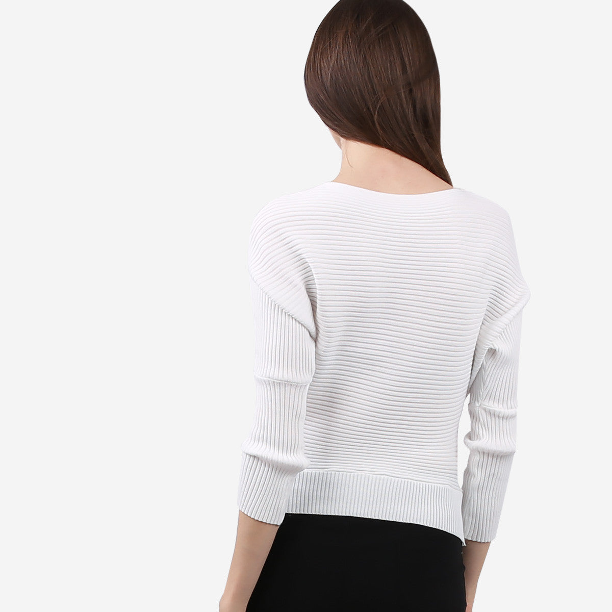 White Bateau Neckline Crop Knit Top