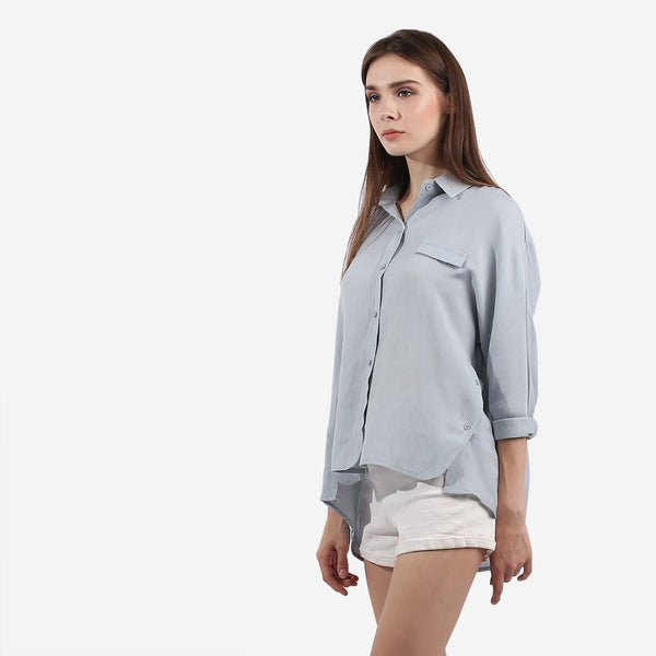 Sky Blue Side Button Hem Top