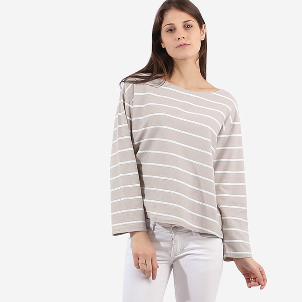 Taupe Textured Stripe Top