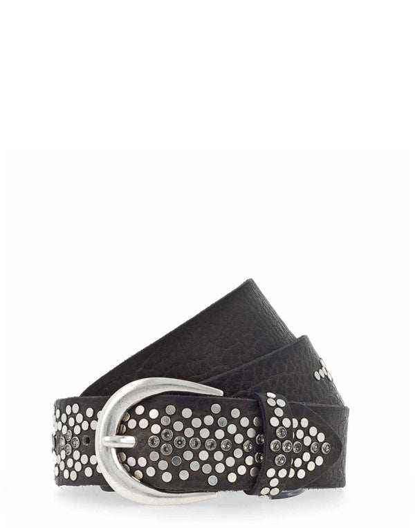 Steel Grey Studded Leather Belt