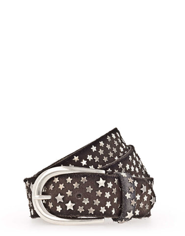 Dark Brown Suede Star Stud Belt