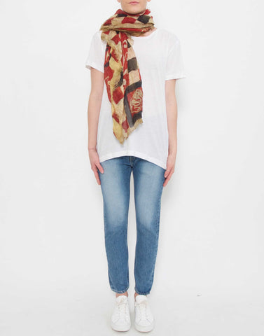 'Two Wheels Forever' Print Linen-Blend Scarf