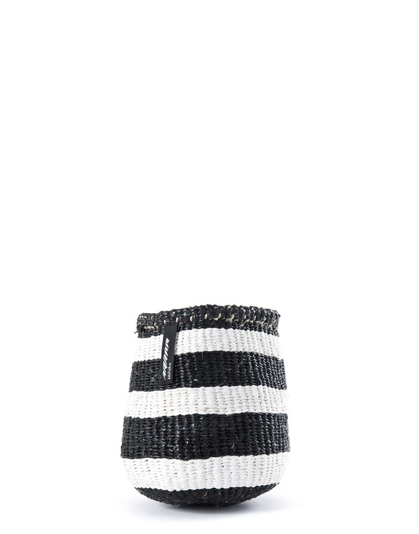 Small Black & White Broad Striped Basket