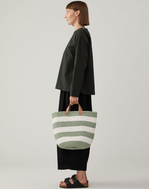 Light Green & White Striped Basket Tote