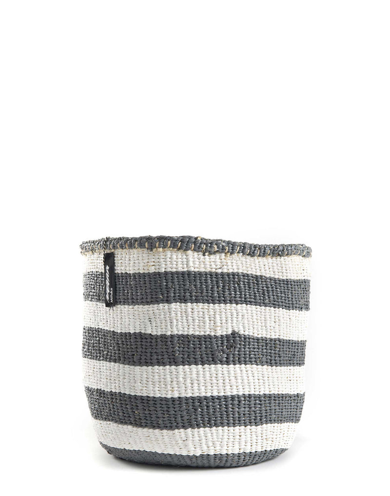 Medium Grey & White Broad Striped Kiondo Basket