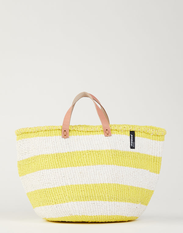 Yellow & White Striped Basket Tote
