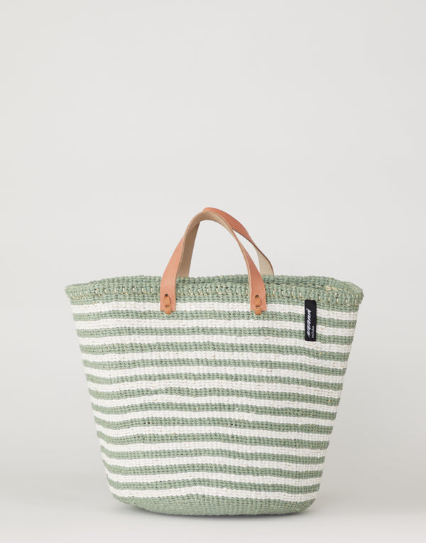 Green & White Thin Striped Basket Tote