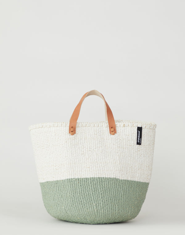 White & Green Basket Tote