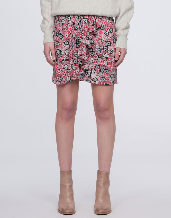 Pink Printed Silk Brazen Mini Skirt