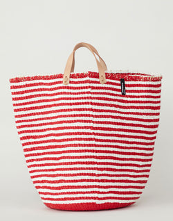 Large Red & White Thin Striped Basket Tote
