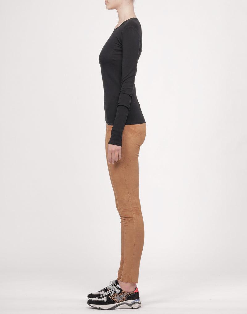 Black Cotton-Blend Long Sleeve Top