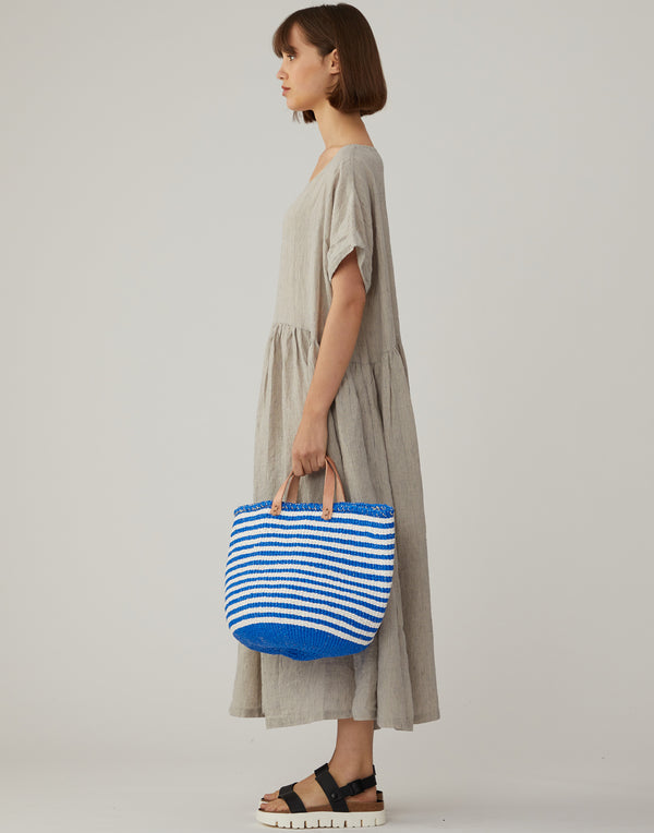 Blue & White Thin Striped Basket Tote
