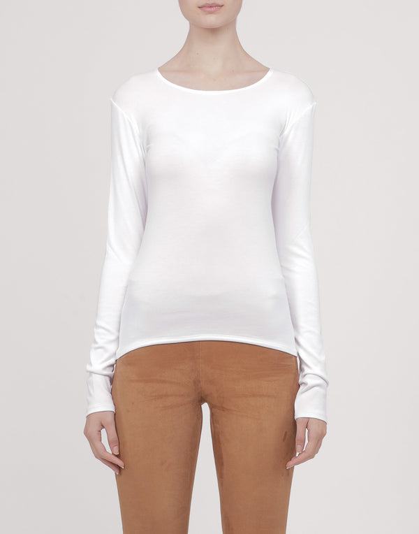 White Cotton-Blend Long Sleeve Top