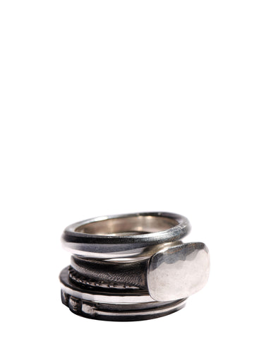 Antique Shape Set of 5 Silver Rings