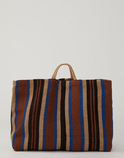 Blue & Brown Striped Jute Poresh Shopper Bag