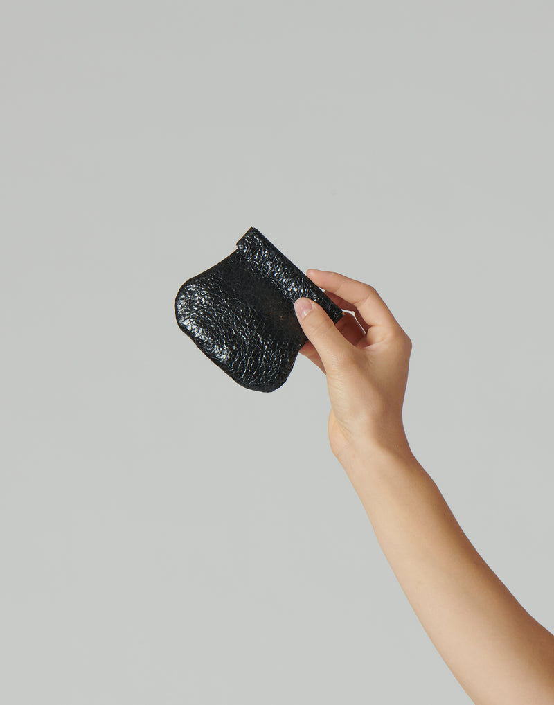 Black Laminated Leather Coin Purse