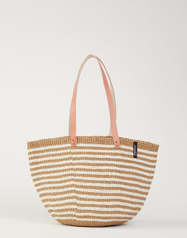 Brown & White Thin Striped Kiondo Bag