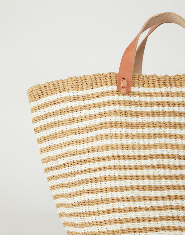 Brown & White Thin Striped Basket Tote