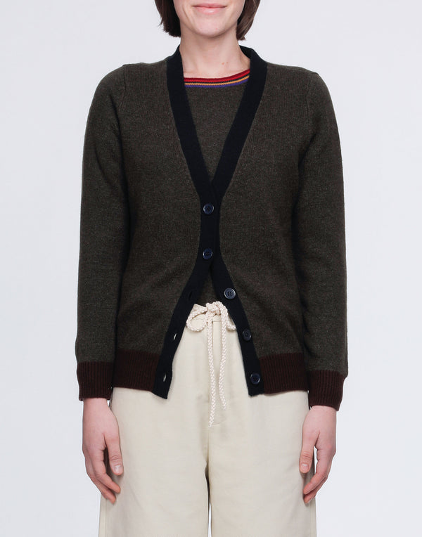 Army Green Cashmere Colour Block Cardigan