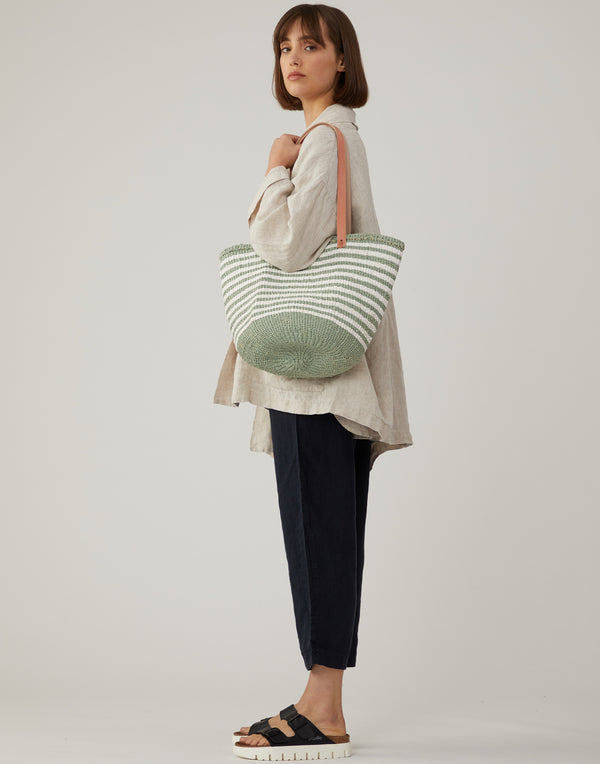 Green & White Thin Striped Kiondo Bag
