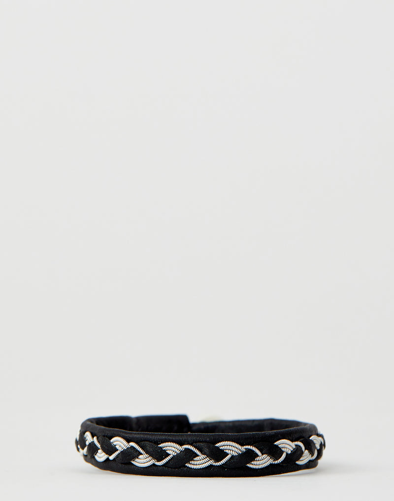A14 Black Leather & Pewter Embroidered Bracelet