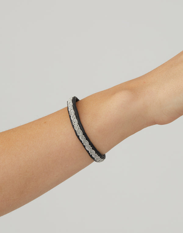 A15 Black Leather & Pewter Embroidered Bracelet