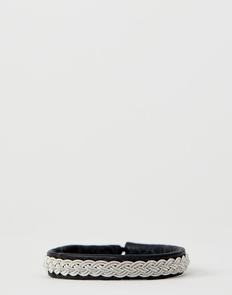 A2 Black Leather & Pewter Embroidered Bracelet