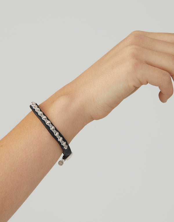 AS01 Black Leather & Pewter Embroidered Bracelet