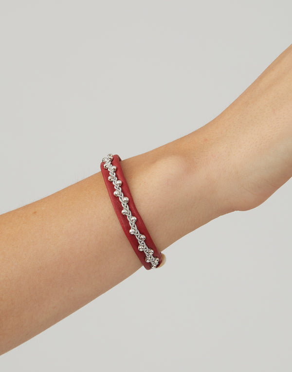 AS19 Red Leather & Pewter Embroidered Bracelet