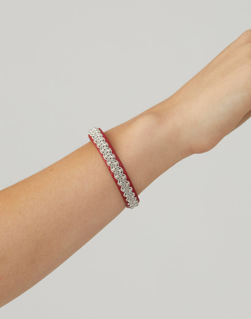 AS31 Red Leather & Pewter Embroidered Bracelet