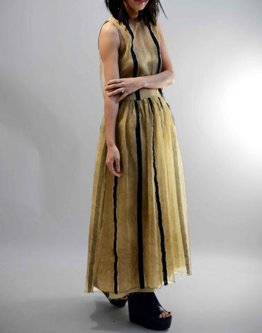Tan and Black Akuchi Silk Blend Dress