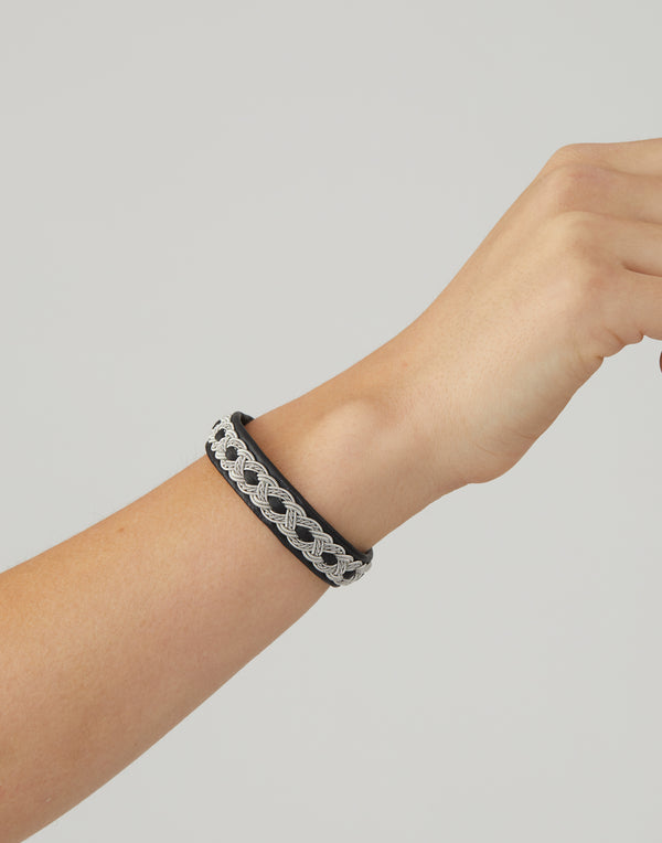 B13 Black Leather & Pewter Embroidered Bracelet